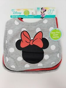 Disney 3 Pack Minnie Mouse Cloth Baby Toddler Bibs - New