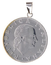 VicenzaGold 200 Lire Italian Coin With 14K White Gold Bail Pendant