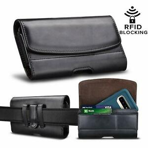 Cell Phone Holster Leather Belt Clip Pouch RFID Wallet Carrying Case Card Slots