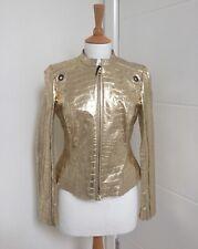 Versace Women's Gold Leather Crocodile Effect Jacket / Size 42 / UK 10