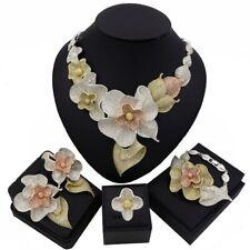 Flower Design 4 Pieces Gold Silver Mix Zirconia Bridal Wedding Necklace set