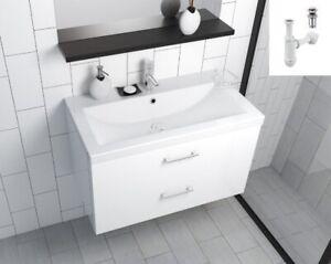 Badmöbel Waschbecken 100 Waschtisch Schublade Unterschrank +/- Siphon ClickClack