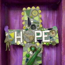 Assemblage Art Collage Cross Shrine Folk Purple Green Hope Is Key Mixed Media