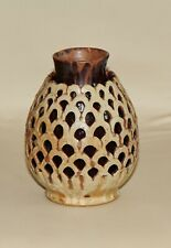 OWEN SMITH Signed Rare Double Layer Pottery Vase with Fan Piercing