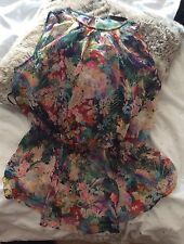 Zara Floral Top Large 12 L Pink Green Purple