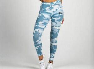 adidas Women's Leggings In Blue White Camo Cotton and Elastane Size 10 UK