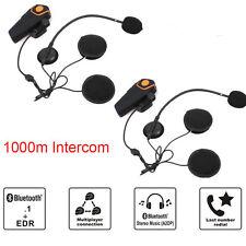 BT-S2 1000M Intercom Motorcycle Helmet Bluetooth Headsets Interphone FM Radio x2