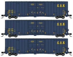 Micro-Trains # 99301860 60' Rib-Side, Dbl-PD High-Cube Boxcar 3-Pk CSX N MIB