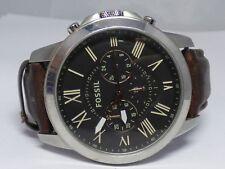 Fossil Grant FS4813 Wrist Watch for Men Silver & Black Leather strap