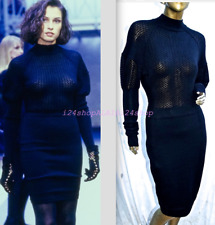 VINTAGE ALAIA RUNWAY-1989  BLACK SEXY CURVE DRESS OPEN NET SCALLOPED TRIM-SMALL