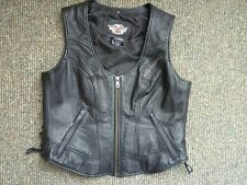 Harley Davidson HORIZON Black Leather Embroidered Vest 98096-06VW WOMENS Size L