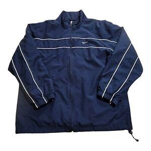 Nike Mens Jacket Windbreaker Vintage Blue White Size Large Gray Tag Center Check