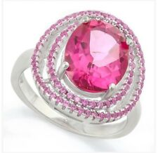 Women's double Pink Sapphire on pink Sapphire ring