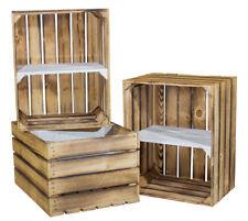 2 Geflammte Holzkisten mit weißen Mittelbrett -quer- Weinkiste Obstkisten Holz