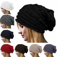 Unisex Men Women Knit Baggy Beanie Oversize Winter Hat Ski Slouchy Cap Skull LS