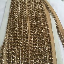 ATTRACTIVE INDIAN ROSE GOLD (LIGHT BROWN) BEADED LACE TRIM - SOLD by METRE