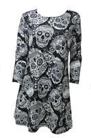 Ladies Halloween Sugar Skull Long Sleeve New Plus Size Novelty Party Swing Dress