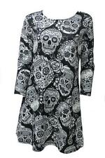 Ladies Halloween Sugar Skull Long Sleeve New Plus Size Novelty Party Swing Dress