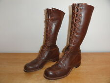 Womens Vtg Cir 1930s Brown Leather Tall Military Army Field Lace-Up Boots 7.5 US