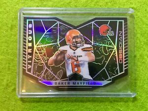 BAKER MAYFIELD PRIZM ROOKIE CARD JERSEY #6 BROWNS /100 SP 2018 Obsidian VITREOUS