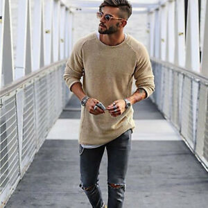 Men Pullover Tops Round Neck Simplicity Knitting Casual Loose Trendy Solid Color