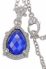Judith Ripka Lapis Doublet Sterling Silver Enhancer with 18 inches Long Necklace