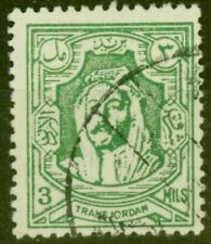 More details for transjordan 1942 3m yellow-green sg224 fine used forgery unusual