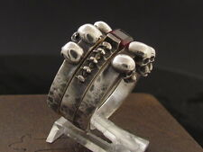 MySacrum TRINITY SKULL RING ENGAGEMENT REAL GARNET