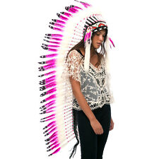 CLEARANCE! Extra Long Native American Indian Inspired Headdress - Wild Pink