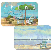 Set of 4 RELAX AT THE BEACH, Adirondack Chairs Counter Art Reversible Placemats