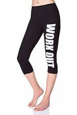 Work Out Leggings Fitness Wear Printed  Running 3/4 Pants UK 8-22 LWO34