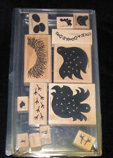 STAMPIN UP DEFINITELY DECORATIVE 1999 ROOSTER BIRD CHICKEN PRIMITIVE STAMP SET