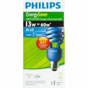 13W=60W Philips Energy Saver Mini Twister Compact Fluorescent Blue Bulb Med Base