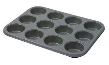 Dexam Bakers Pride 12 Cup Muffin Tin Non Stick Pan Tray Mould Baking Cupcake Bun