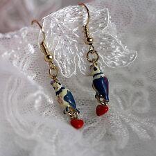 Boucles d`Oreilles Petit Oiseau Perroquet Bleu Coeur Rouge Original Soirée Mimi