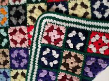 Afghan Blanket Granny Square Crochet Throw 36 x 48 Brilliant Colors Vintage