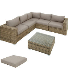 Sofá de Poli Ratán Asiento Cojín Conjunto de Muebles de Jardín Patio exteriores