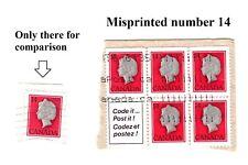 Misprinted Error 1978 Canada Stamp Queen Elizabeth 14 Cent Scott #716 A356