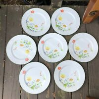 "7 VINTAGE CASTLE COURT FINE CHINA JAPAN APRIL SHOWERS 10 1/4"" DINNER PLATES"