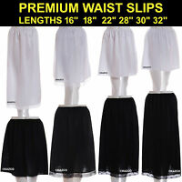 "Waist Slip Ladies Black Ivory White Underskirt Petticoat Half Slips 16"" - 32"""
