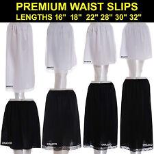 "Waist Slip Half Slips Ladies Black Ivory White Underskirt Petticoat 16"" - 36"""