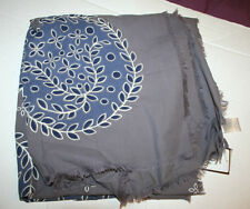 PAUL SMITH 100% COTTON SCARF Grey Leaves Square NWT