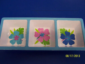 Floral Paradise Cool Tropical Summer Luau Pool Party Melamine Condiment Tray