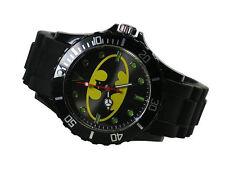 DC Super Hero Batman Logo Fashion Boy Man Metal Black Silicone Watch Wrist LXT
