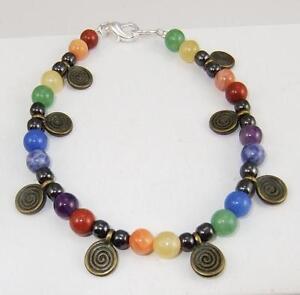 Gem stone Chakra Rainbow Pagan bracelet with spiral charms