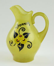 Vintage French Art Deco Celluloid Pitcher Vase Yellow Marble floral design