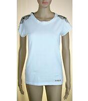 T-Shirt Maglietta Donna PINKO SA667 Bianco con Strass e Perline Tg XS S M L