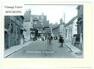 Ditchling Crossroads c.1925. Nostalgic greeting card. Hand made, blank inside .