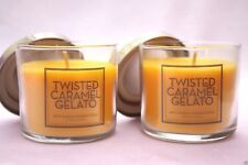 LOT 2 BATH & BODY WORKS HOME TWISTED CARAMEL GELATO 4 OZ SCENTED FILLED CANDLES