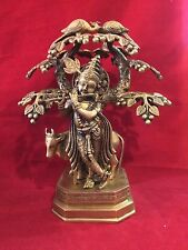 """14"""" Antique Mor Muket Lord Krishna Playing Flute Under Tree w/Cow Brass Statue"""